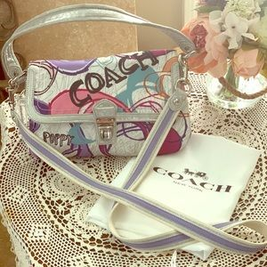 Authentic Coach crossbody/tote sparkly MINT.
